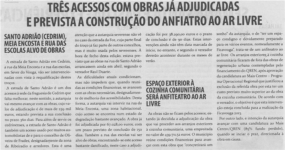 TV-maio13-p7-Três acessos com obras já adjudicadas e prevista a construção do anfiteatro ao ar livre