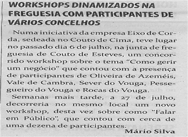 TV-ago13-p5-Workshops dinamizados na freguesia com participantes de vários concelhos