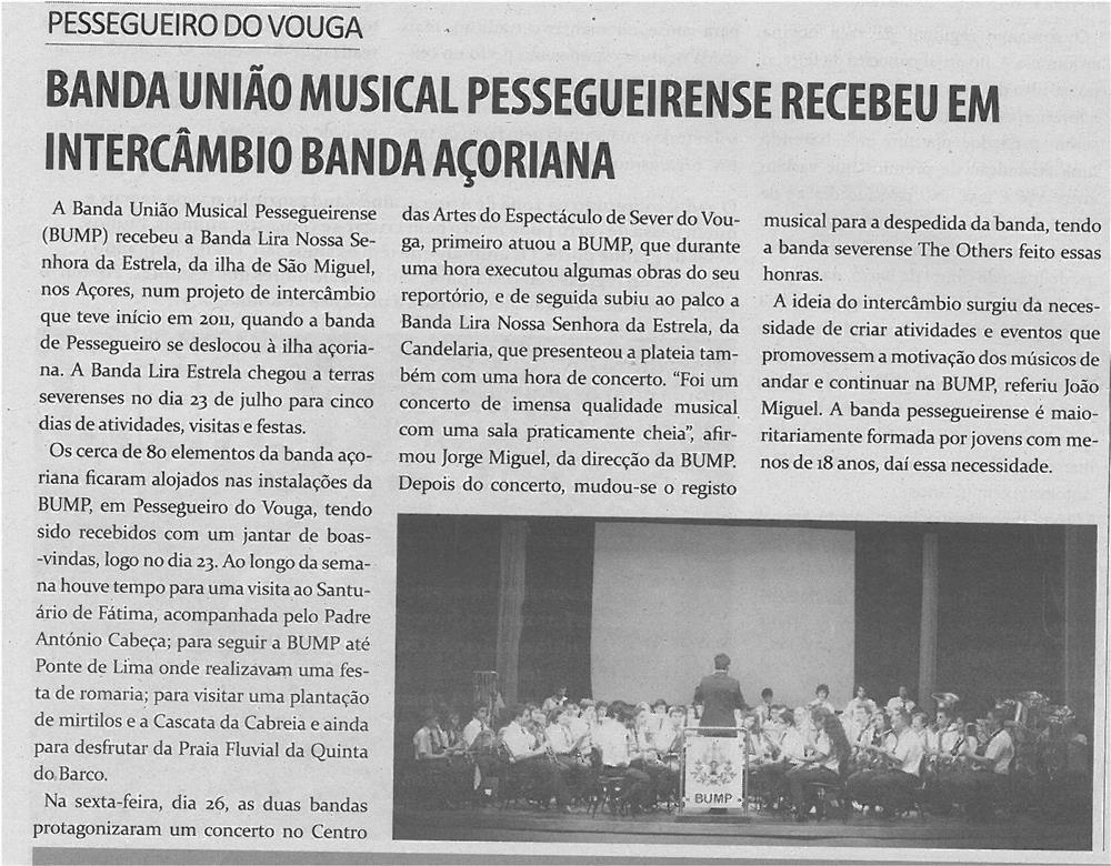 TV-ago13-p10-Banda União Musical Pessegueirense recebeu em intercâmbio banda açoreana