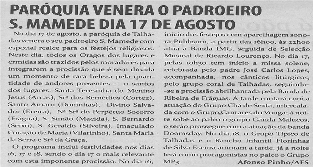 TV-ago13-p17-Paróquia venera o padroeiro S. Mamede dia 17 de agosto