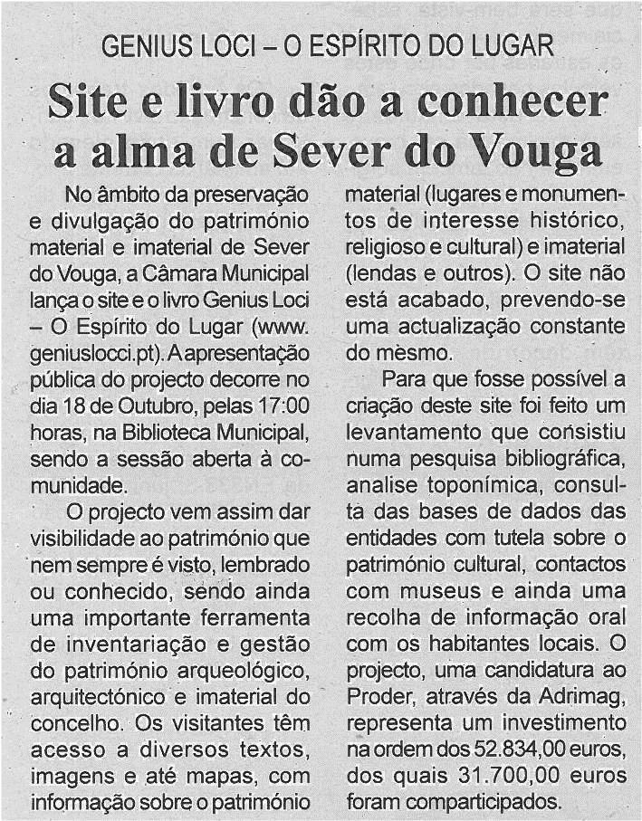 BV-2ªout'13-p6-Site e livro dão a conhecer a alma de Sever do Vouga
