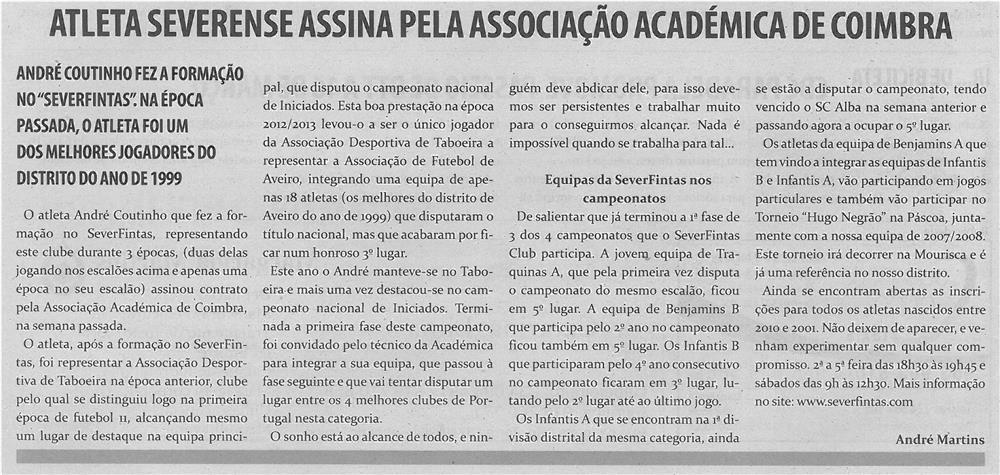 TV-mar14-p10-Atleta severense assina pela Associação Académica de Coimbra