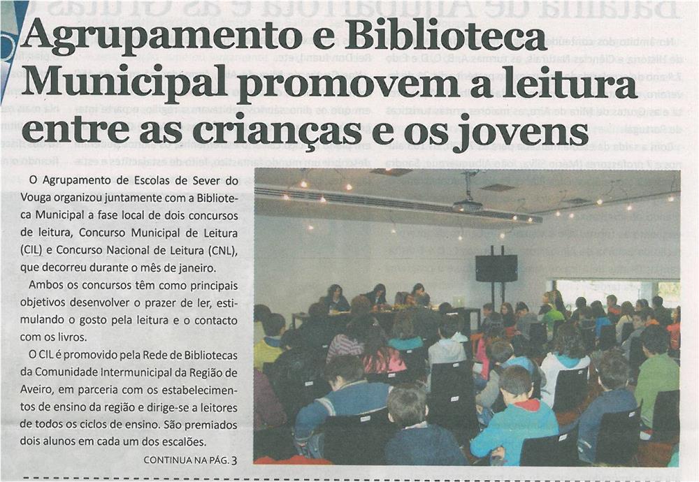 JE-mar14-p1-Agrupamento e Biblioteca Municipal promovem a leitura entre as crianças e os jovens