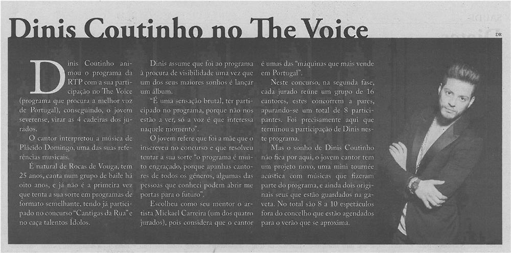 JPEG: EV-maio'14-p11-Dinis Coutinho no The Voice