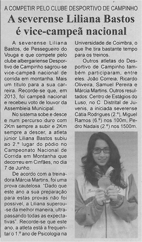 BV-2ªjun'14-p6-A severense Liliana Bastos é vice-campeã nacional : a competir pelo Clube Desportivo de Campinho