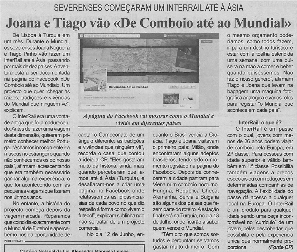 BV-2ªjun'14-p6-Joana e Tiago vão de comboio até ao Mundial - severenses começaram um interrail até à Ásia