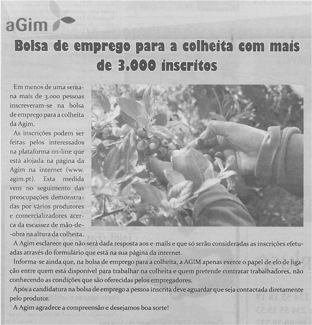 TV-abr14-p15-Bolsa de emprego para a colheita com mais de 3 000 inscritos : AGIM