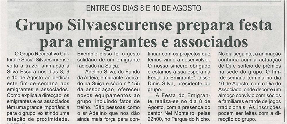 BV-1ªago'14-p8-Grupo Silvaescurense prepara festa para emigrantes e associados : entre os dias 8 e 10 de agosto - JPG