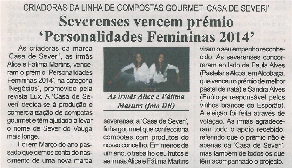 BV-2ªfev.'15-p.8-Severenses vencem prémio : Personalidades Femininas 2014 : criadoras da linha de compotas gourmet Casa de Severi.jpg