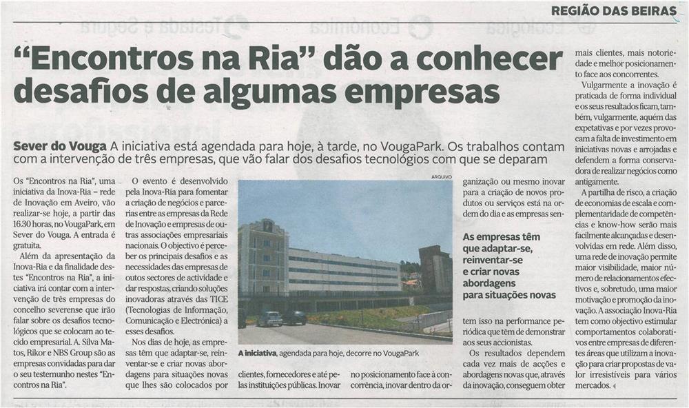 DA-18mar.'15-p.1-Encontros na Ria dão a conhecer desafios de algumas empresas.jpg