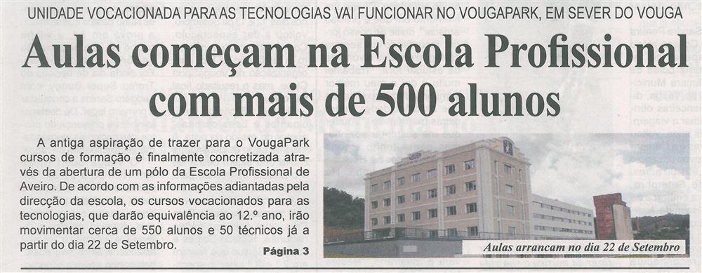 BV-2.ªset.'15-p.1-Aulas começam na Escola Profissional com mais de 500 alunos : Unidade vocacionada para as tecnologias vai funcionar no VougaPark.jpg