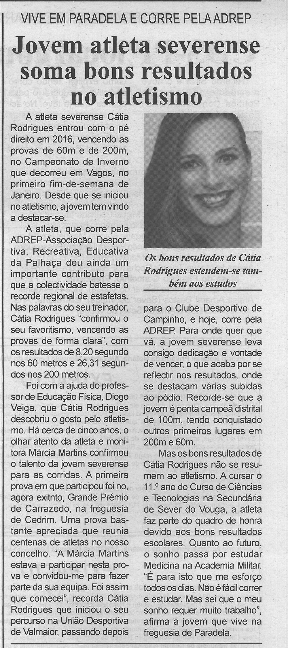 BV-2.ªjan.'16-p.5-Jovem atleta severense soma bons resultados no atletismo : vive em Paradela e corre pela ADREP : os bons resultados de Cátia Rodrigues estendem-se também aos estudos.jpg