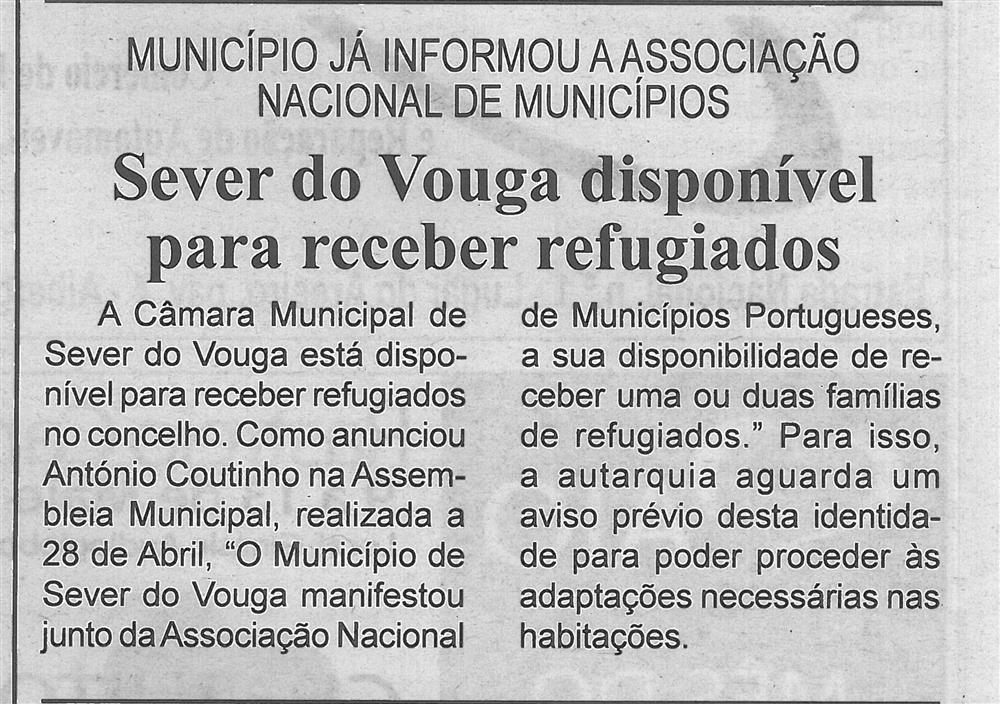 BV-1.ªmaio'16-p.2-Sever do Vouga disponível para receber refugiados : Município já informou a Associação Nacional de Municípios.jpg