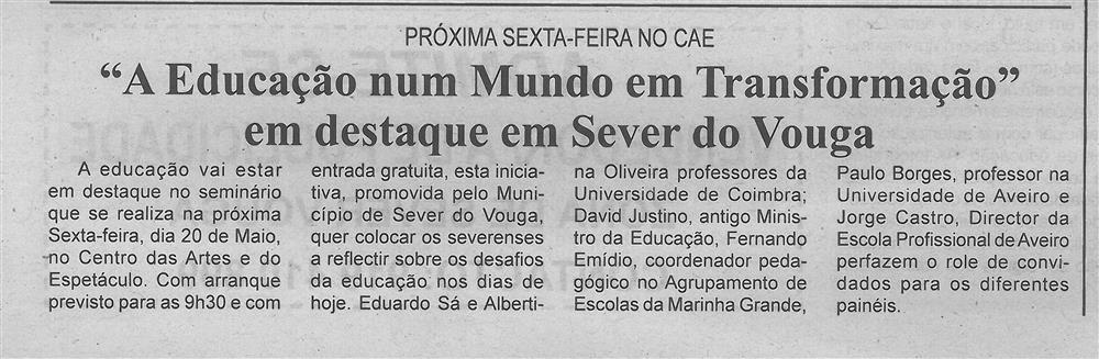 BV-2.ªmaio'16-p.6-A educação num mundo em transformação : em destaque em Sever do Vouga : próxima sexta-feira no CAE.jpg