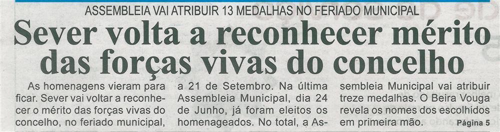 BV-1.ªjul.'16-p.1-Sever volta a reconhecer mérito das forças vivas do concelho : Assembleia vai atribuir 13 medalhas no feriado municipal.jpg