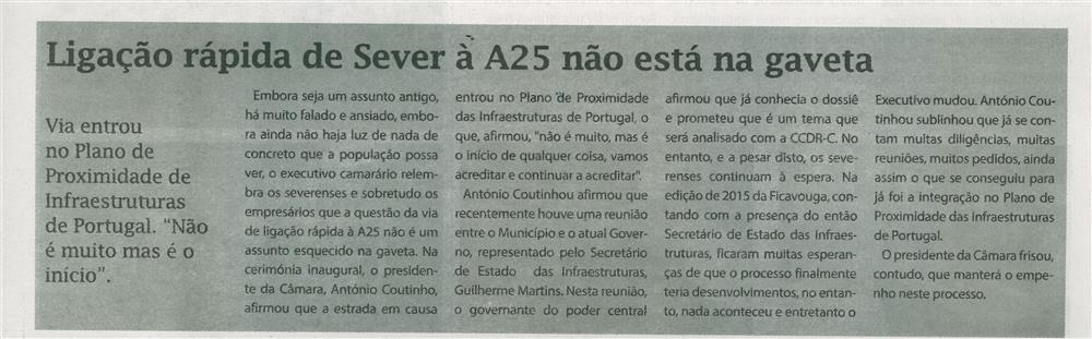 TV-ago.'16-p.9-Ligação rápida de Sever à A25 não está na gaveta : Via entrou no Plano de Proximidade de Infraestruturas de Portugal : não é muito mas é o início.jpg