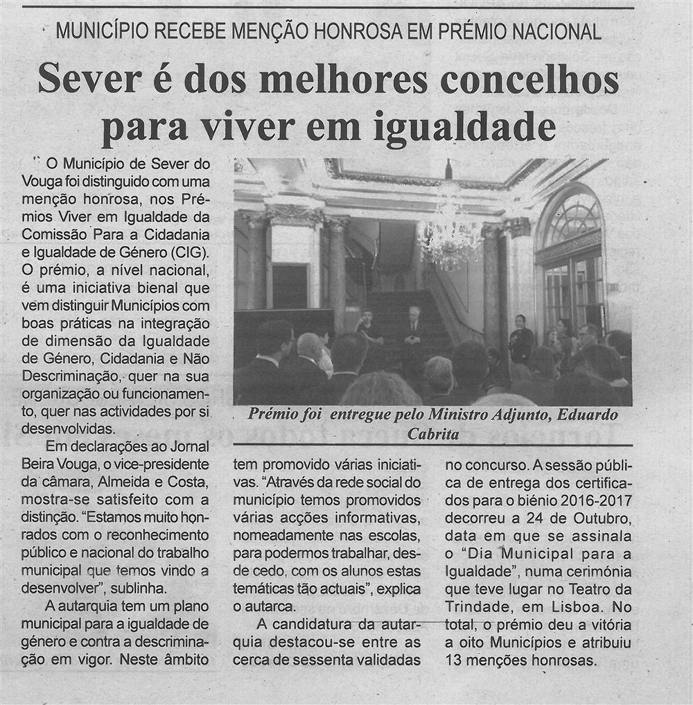 BV-1.ªnov.'16-p.5-Sever é dos melhores concelhos para viver em igualdade : Município recebe Menção Honrosa em Prémio Nacional.jpg