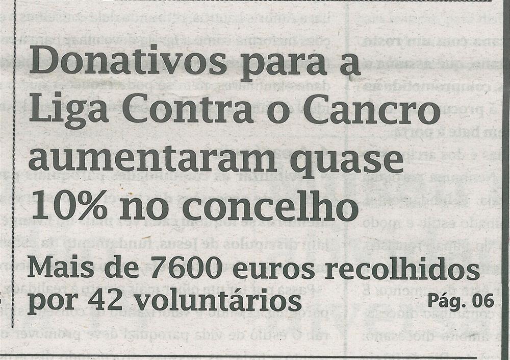 TV-dez.'16-p.1-Donativos para a Liga Contra o Cancro aumentaram quase 10% no concelho : mais de 7600 euros recolhidos por 42 voluntários.jpg