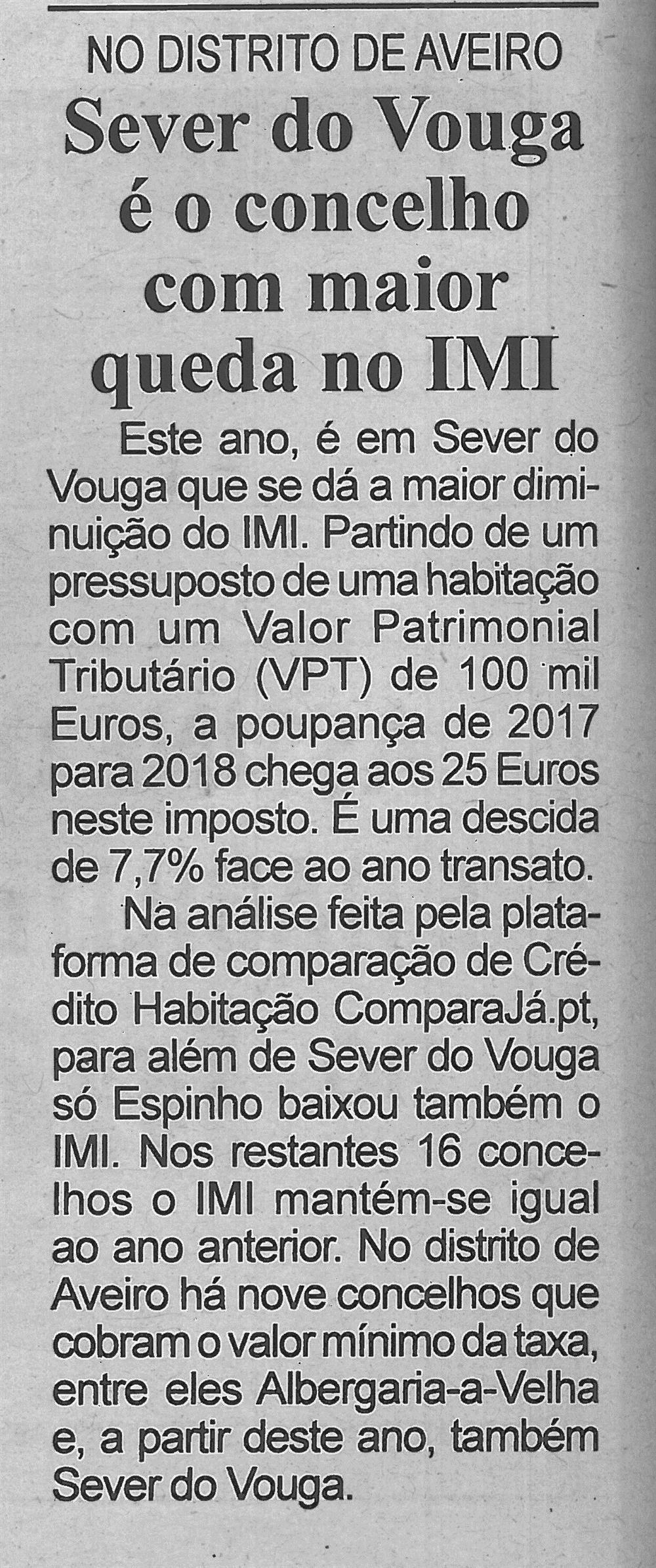 BV-1.ªfev.'18-p.4-Sever do Vouga é o concelho com maior queda no IMI : no Distrito de Aveiro.jpg