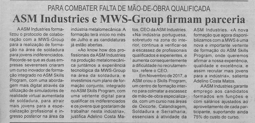 BV-1.ªjun.'18-p.3-ASM Industries e MWS Group firmam parceria : para combater falta de mão de obra qualificada.jpg