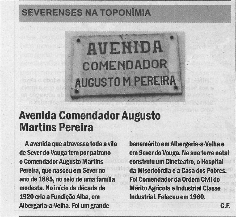 CV-05set.'18-p.6-Severenses na toponímia : Avenida Comendador Augusto Martins Pereira.jpg
