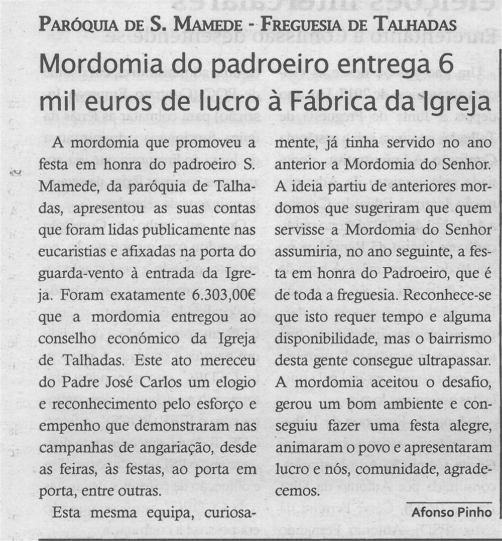 TV-out.'18-p.14-Mordomia do padroeiro entrega 6 mil euros de lucro à Fábrica da Igreja : Paróquia de S. Mamede : Freguesia de Talhadas.jpg