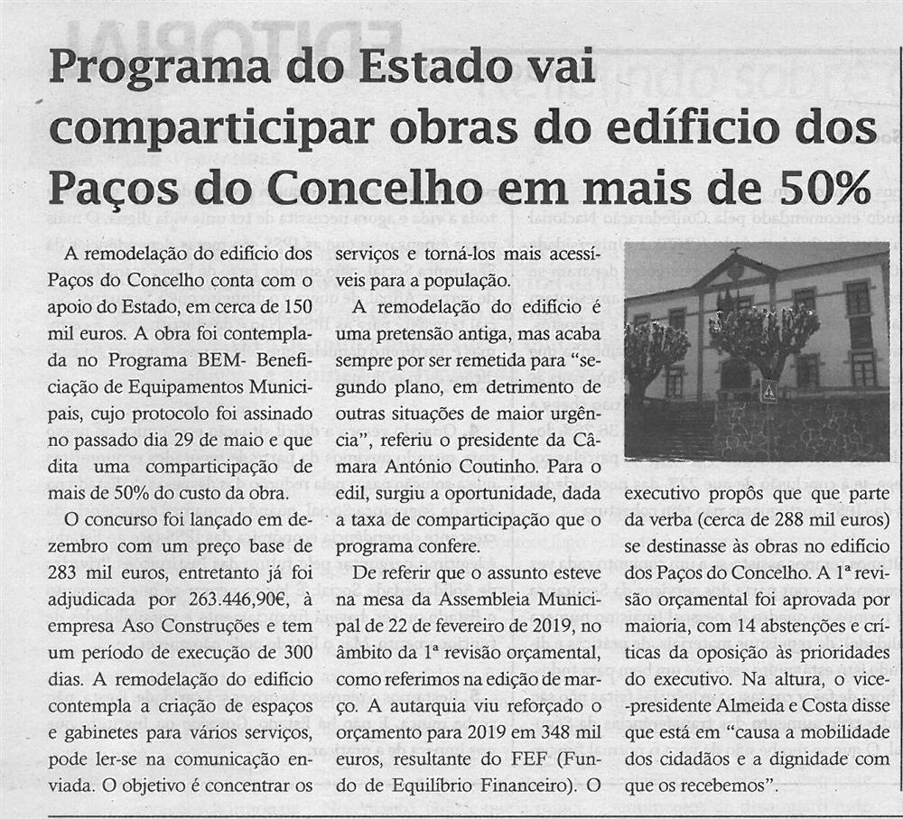 TV-jun.'19-p.4-Programa do Estado vai comparticipar obras do edifício dos Paços do Concelho em mais de 50%.jpg