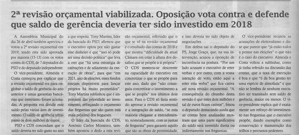 TV-maio'19-p.6-2.ª revisão orçamental viabilizada : oposição vota contra e defende que saldo de gerência deveria ter sido investido em 2018.jpg