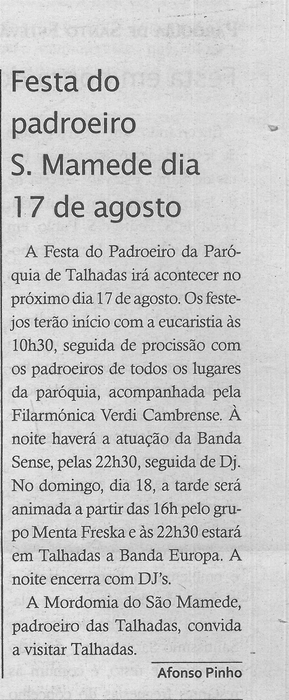 TV-ago.'19-p.13-Festa do padroeiro São Mamede dia 17 de agosto : paróquias e freguesias : Paróquia de São Mamede, Talhadas.jpg