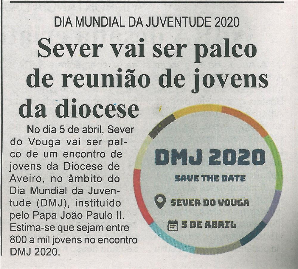 BV-2.ªfev.'20-p.8-Sever vai ser palco de reunião de jovens da diocese : Dia Mundial da Juventude 2020.jpg