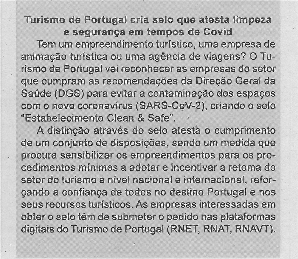 BV-1.ªmaio'20-p.5-Turismo de Portugal cria selo que atesta limpeza e segurança em tempos de Covid.jpg