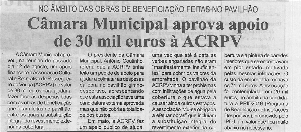 BV-2.ªago.'20-p.3-Câmara Municipal aprova apoio de 30 mil euros à ACRPV : no âmbito das obras de beneficiação feitas no pavilhão.jpg