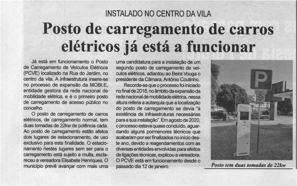 BV-2.ªjan.'21-p.2-Posto de carregamento de carros elétricos já está a funcionar : instalado no centro da Vila.jpg