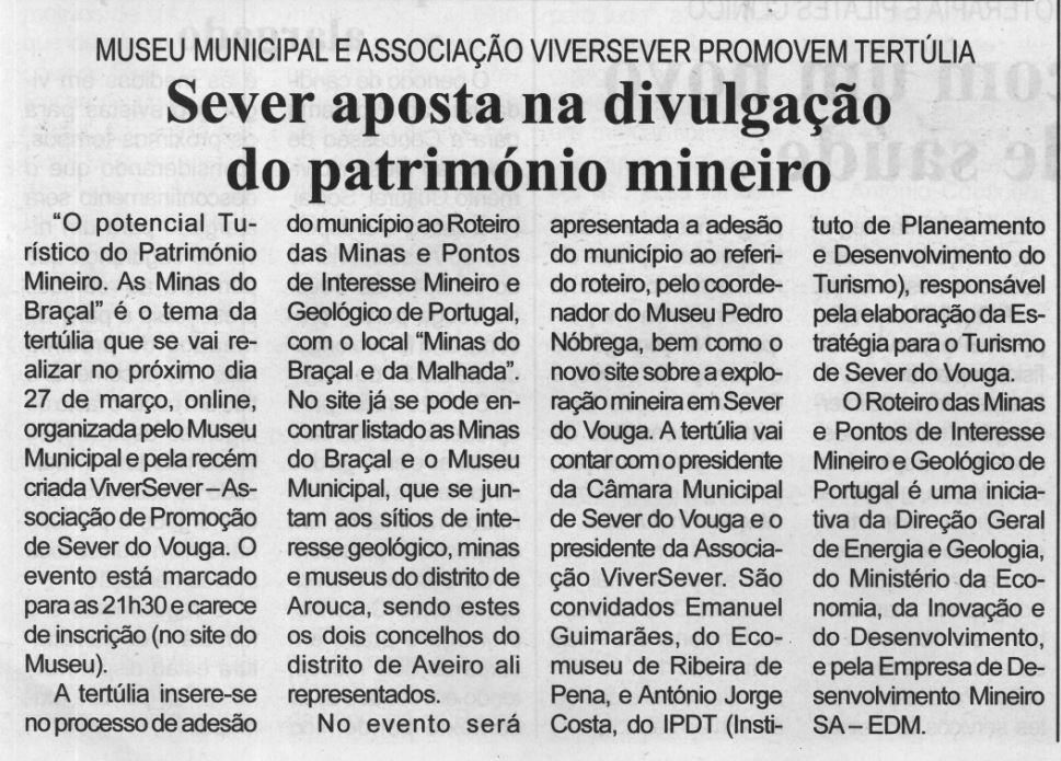BV-2.ªmar.'21-p.3-Sever aposta na divulgação do património mineiro : Museu Municipal e Associação ViverSever promovem tertúlia.JPG