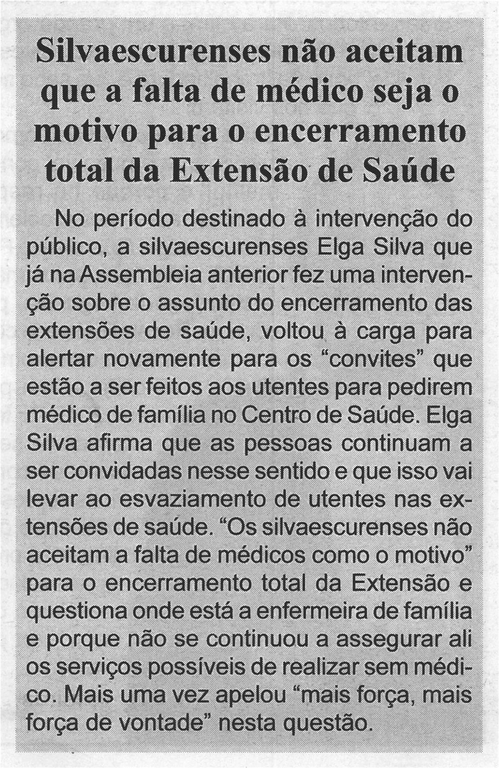BV-1.ªjul.'21-p.7-Silvaescurenses não aceitam que a falta de médico seja o motivo para o encerramento total da extensão de saúde.jpg