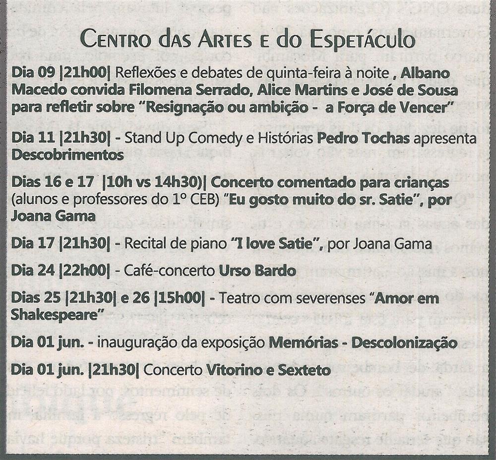 TV-maio'19-p.15-Agenda Cultural [de] maio : Centro das Artes e do Espetáculo.jpg